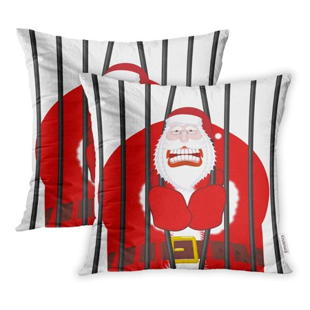 Prisoner Christmas.Ywota Santa Claus Gangster Christmas In Prison Window Lockup Bars Bad Prisoner Pillow Cases Cushion Cover 20x20 Inch