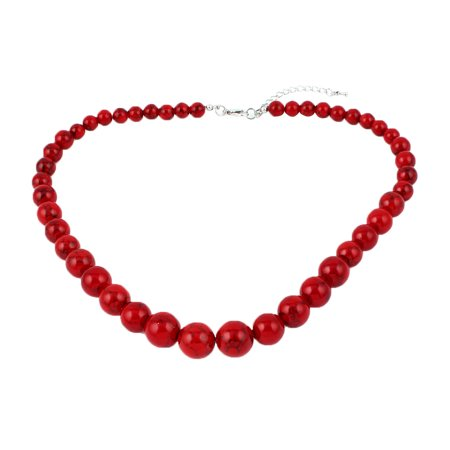 Bead Wrap Necklace (Retro Vintage Style Red Beads Statment Necklace for)