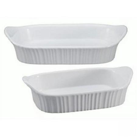 Corningware Microwave (1115855 French White III 2 piece Set -, Stoneware is safe to use in microwave, oven, refrigerator, freezer & dishwasher By CorningWare )