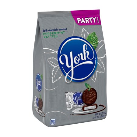 YORK Peppermint Patties Dark Chocolate Candy, Individually Wrapped, 35.2 oz, Party Bag