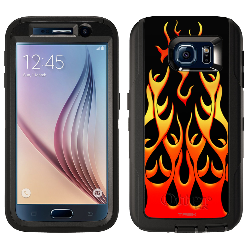 SKIN DECAL FOR Otterbox Defender Samsung Galaxy S6 Case - Red Flames on Black DECAL, NOT A CASE