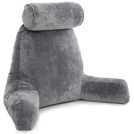 Husband Pillow - Dark Grey Big Reading & Bed Rest Pillow with Arms - Sit Up Tall with Premium Shredded Memory Foam, Detachable Neck Roll, Removable Plush Covers & Zipper Shell for Adjustable