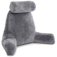 Husband Pillow - Dark Grey Big Reading & Bed Rest Pillow with Arms - Sit Up Tall with Premium Shredded Memory Foam, Detachable Neck Roll, Removable Plush Covers & Zipper Shell for Adjustable Loft