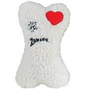 EMBROIDERED BERBER BONES Quality Made Soft Bone Squeaker Toys for Dogs Dog Toy(White)