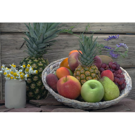 LAMINATED POSTER Pineapple Flowers Basket Apricots Still Life Fruit Poster Print 11 x 17