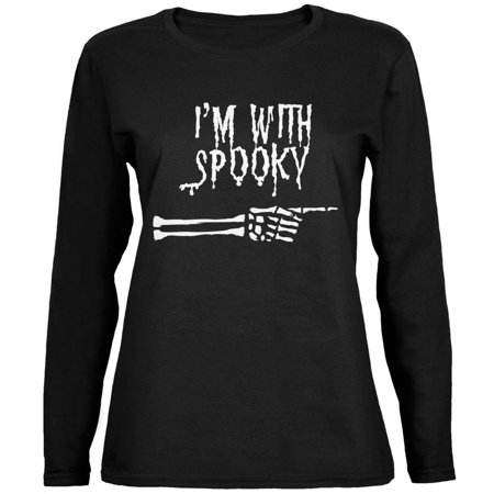 Halloween I'm With Spooky Black Womens Long Sleeve (I'm Having A Halloween Party)