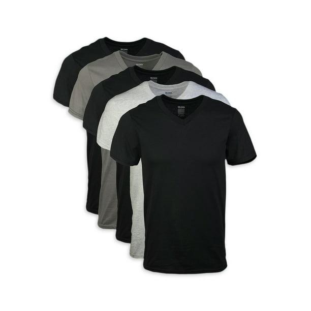 Gildan Men's short sleeve V-neck assorted color t-shirt up to 2XL, 5-pack