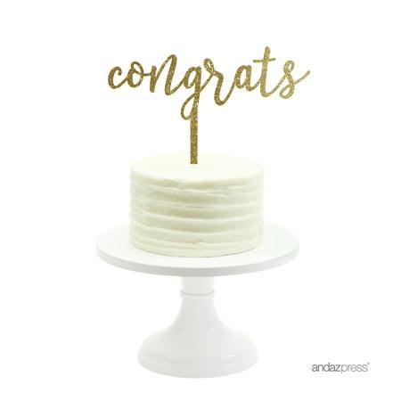 Gold Glitter Congrats Acrylic Party Cake Topper