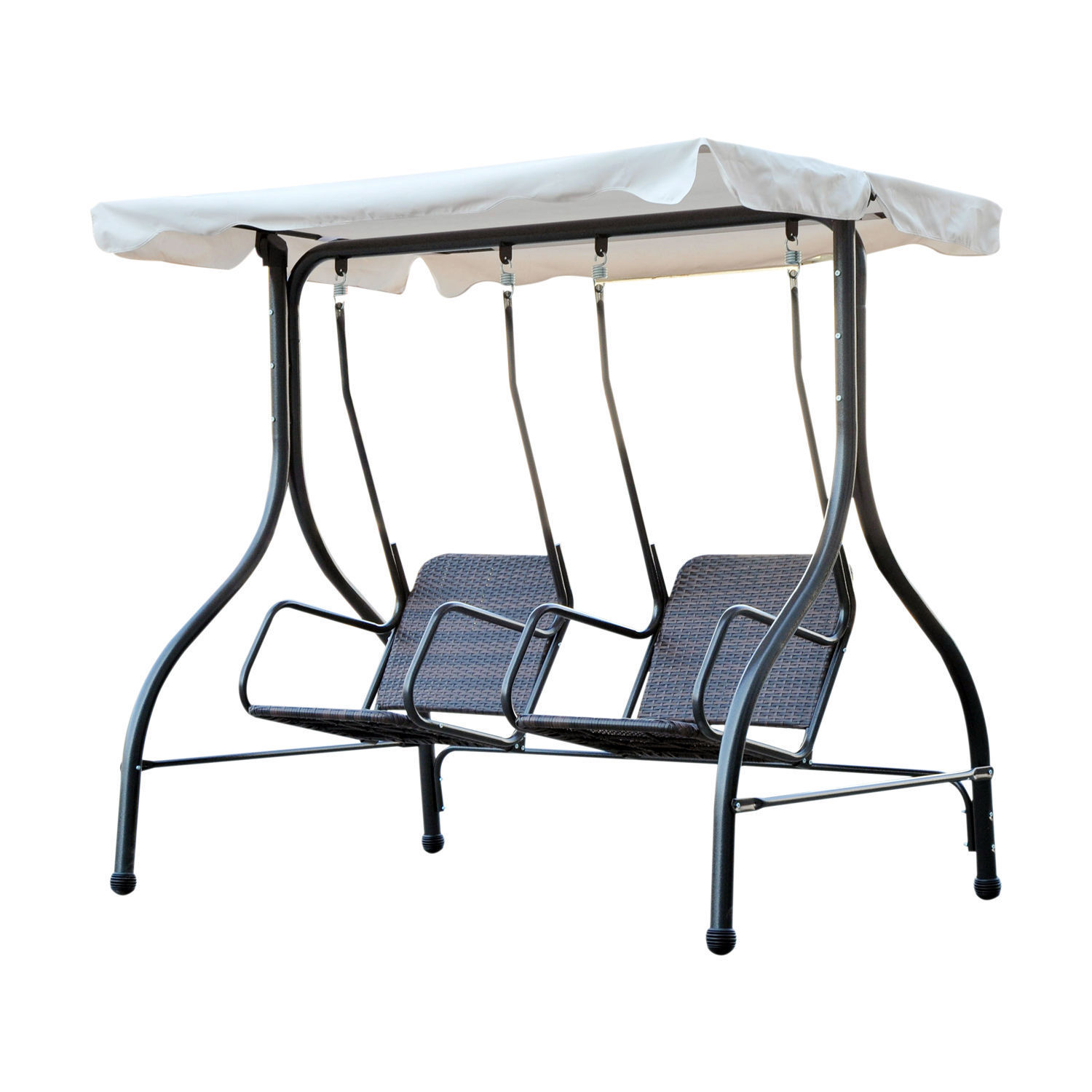 Ghp 2 Person Pe Rattan Wicker Double Seat Patio Porch Swing With