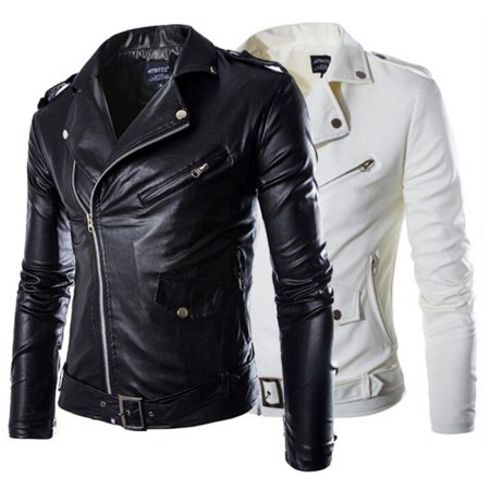 Men's Slim Fit PU Leather Biker Jacket Cool Motorcycle Coat Overcoat Outwear New