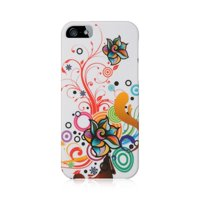 For Apple iPhone 5 / 5S Hard Crystal Rubber Skin Back Protective Shell Cover Case by Insten - White Autumn Flower