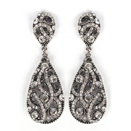 - Antique Silvertone with Clear Iced Out Vine Twist Teardrop Shaped 3.25 Inch Dangle Clip on Earrings
