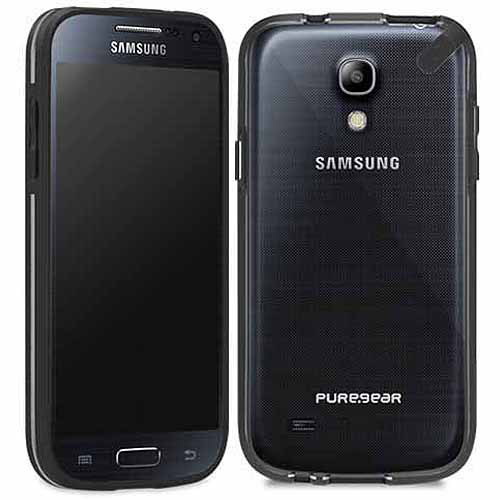 PureGear Slim Shell Case for Samsung Galaxy S4 Mini - Retail Packaging - Black/Licorice Jelly