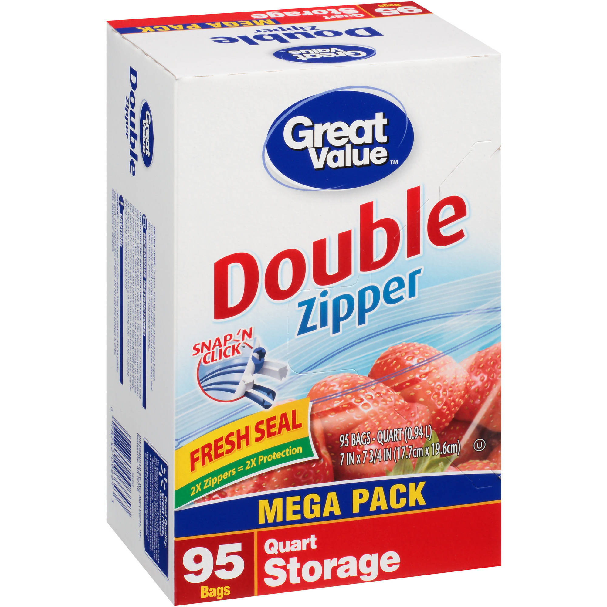 Great Value Double Zipper Quart Size Storage Bags, 95 count