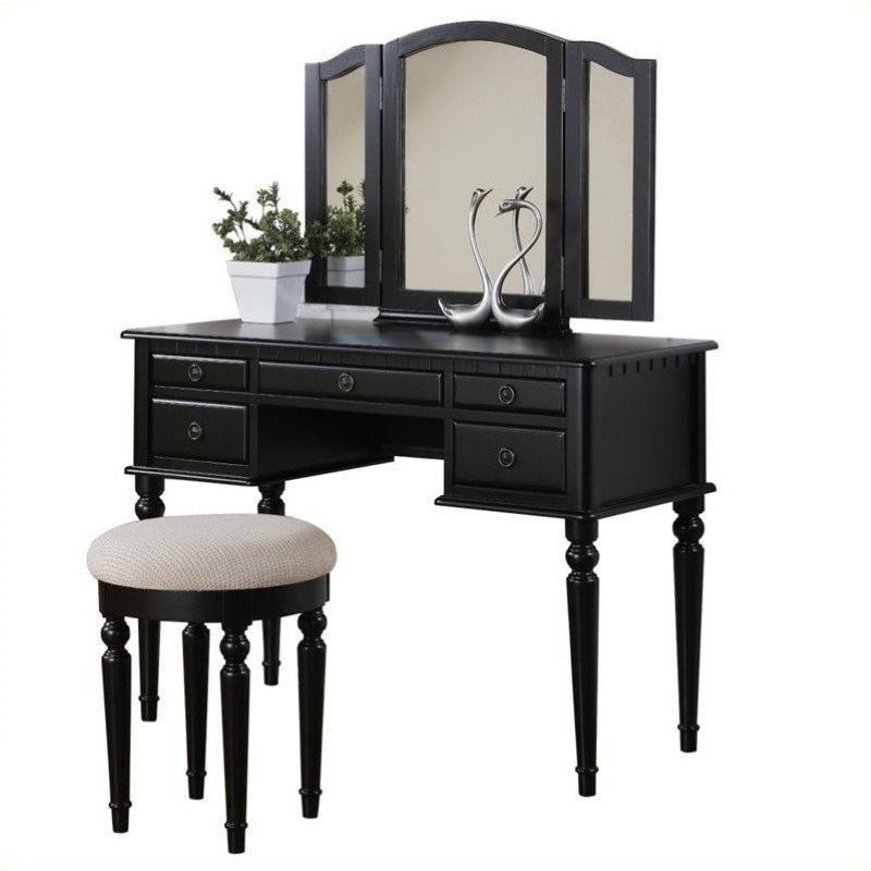 Bowery Hill vanity makeup table set with Stool in Black