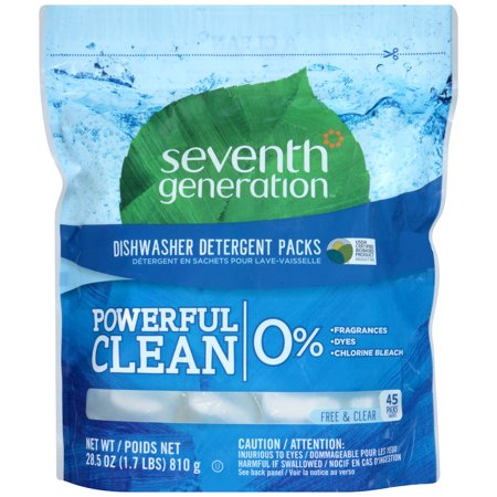 Seventh Generation Natural Dishwasher Detergent Concentrated Packs  Free   Clear  45 Packets Pack
