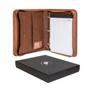 Forevermore Portfolio with Zippered Closure, Removable 3 Ring Binder & Bonus Letter Size Writing Pad/Interview & Resume Document Organizer/Notebook & Business Card Holder, Brown