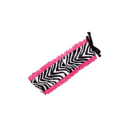 Azul Girls Black White Zebra Print Pink Ruffle Neon Safari Swim Headband (Zebra Head Band)