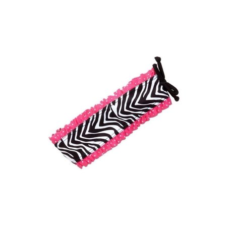 Azul Girls Black White Zebra Print Pink Ruffle Neon Safari Swim Headband - Zebra Headband