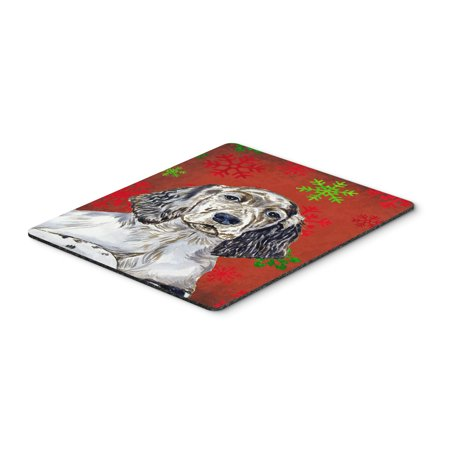 English Setter Red and Green Snowflakes Christmas Mouse Pad, Hot Pad or Trivet