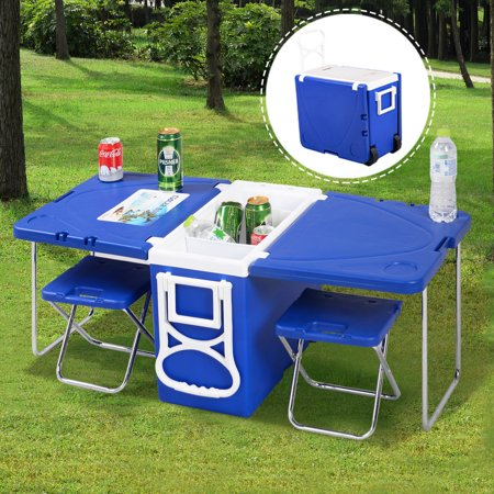 Goplus Multi Function Rolling Cooler Picnic Camping Outdoor w/ Table & 2 Chairs Blue