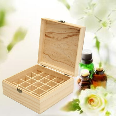 25 Slot Portable Essential Oil Wooden Storage Box Container Holder Carry Case ()