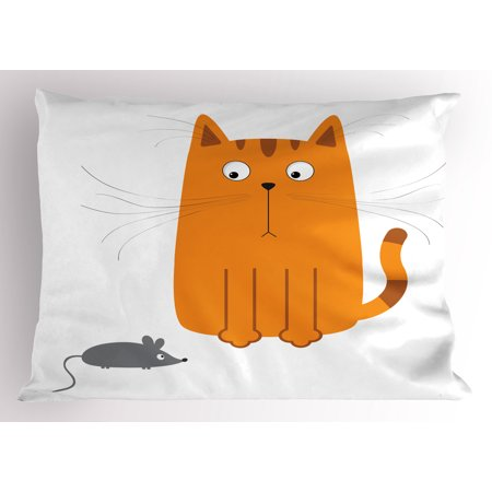 Cartoon Pillow Sham Cute Cat Looking at Mouse Hunter Kitty Fun Humor Kids Animal Graphic Art Print, Decorative Standard King Size Printed Pillowcase, 36 X 20 Inches, Marigold Grey, by -