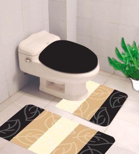 2 Pc Bathroom Mat Set Soft Non-Slip Bath Rug Toilet Pedestal Conture Pad Set