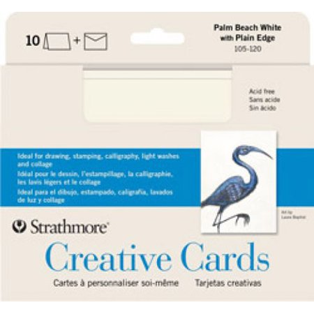 Strathmore Creative Cards, Full Size, Fluorescent White with Deckle, 50/Pkg.