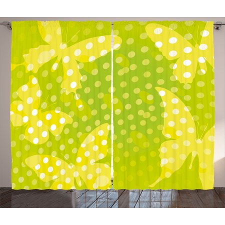 Digital Curtains 2 Panels Set, Modern Design with Butterfly Shapes and Dots Nature Print, Window Drapes for Living Room Bedroom, 108W X 108L Inches, Neon Pale Green Yellow and White, - Neon White