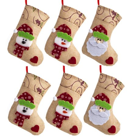 "6 Pcs 7.5"" Burlap Christmas Stockings, Hanging Craft Socks Christmas Tree Decor Hanging Rustic Ornaments Santa Snowman Love Ornament](Tree Craft)"