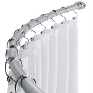 Chrome Curved Shower Curtain Rod Adjustable Bathtub Accessory No Sawing Required! by