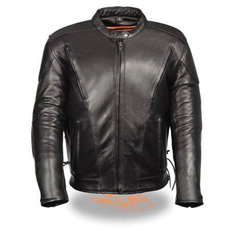 Milwaukee Leather Men's Premium Side Lace Vented Scooter Jacket  Black Black Scooter Striped Jacket