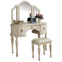 ACME Trini Vanity Desk & Stool, White