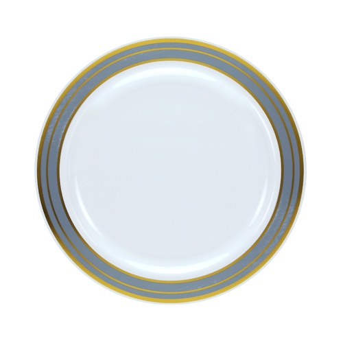Lillian Dinnerware Magnificense Plastic Plates 7.5  Pearl with Platinum u0026 Gold Border  sc 1 st  Walmart.com & Lillian Dinnerware Magnificense Plastic Plates 7.5