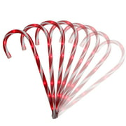 Set of 8 Red Lighted Candy Cane Christmas Lawn Stakes with 8 Functions and Remote