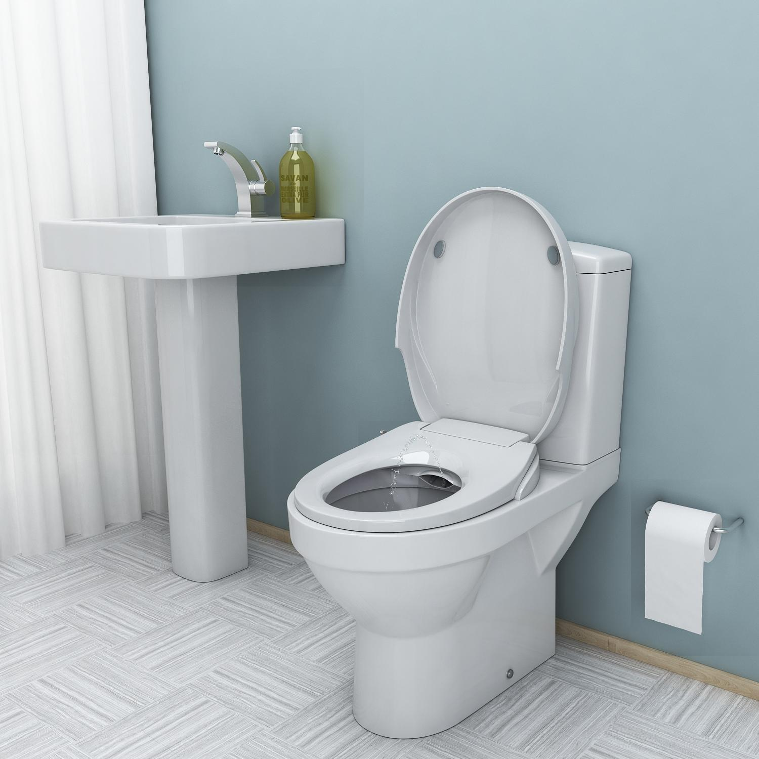 Bidet Seat Dual Self Cleaning Nozzles Elongated Non-Electric Bidet Toilet Seat Bathroom BETT