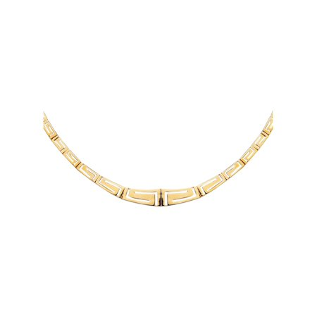 - 14 Kt Yellow Gold 17 Inch Graduated Greek Key Fancy Necklace with Box Catch Clasp