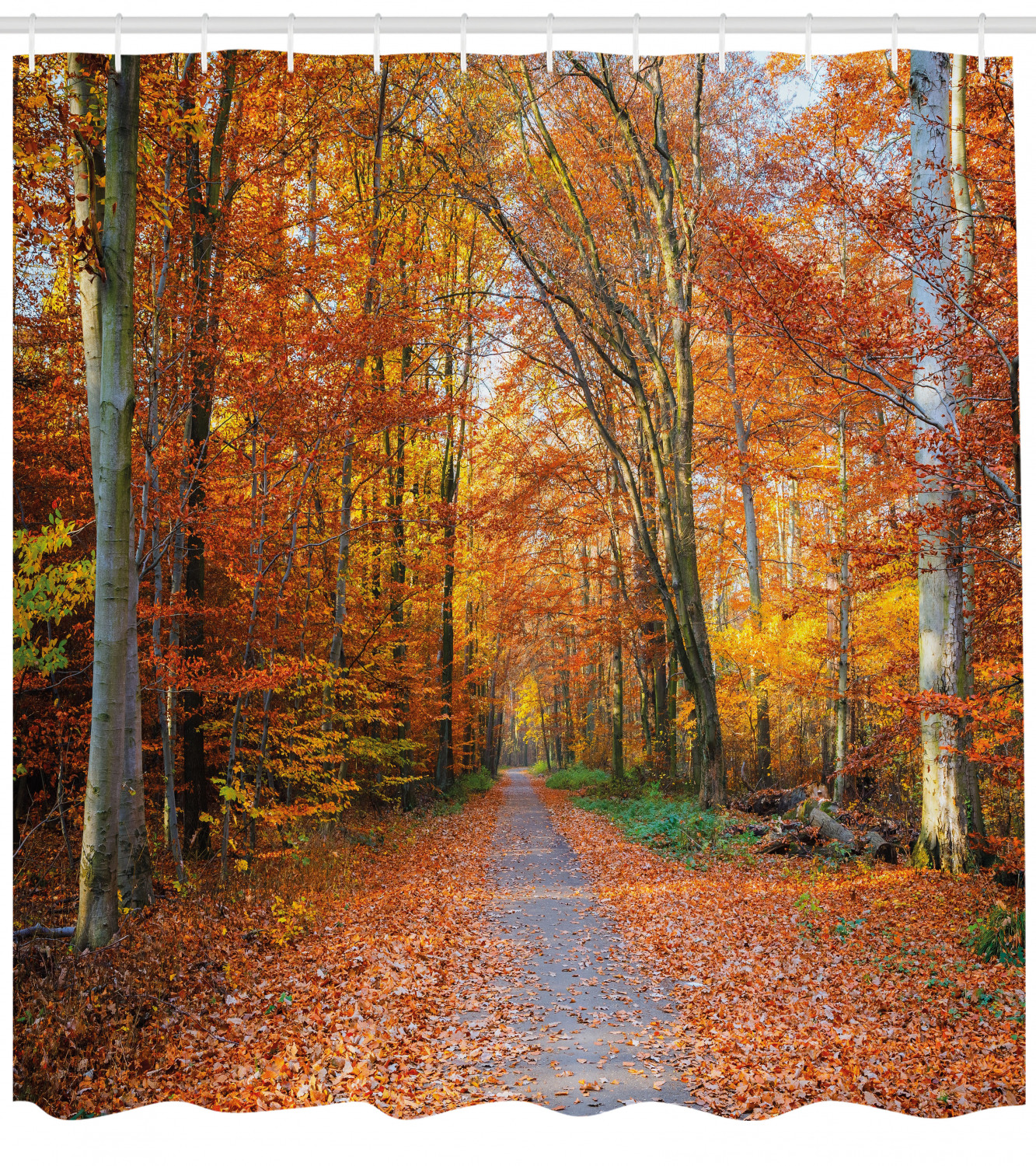 Autumn Shower Curtain Pathway in the Woods Print for Bathroom 70 Inches Long