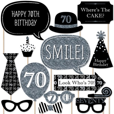 Adult 70th Birthday - Silver - Birthday Party Photo Booth Props Kit - 20 Count - Cheap 70th Birthday Invitations