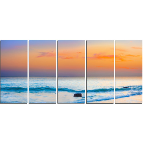 Design Art Orange Sunset Panorama 5 Piece Wall Art on Wrapped Canvas Set