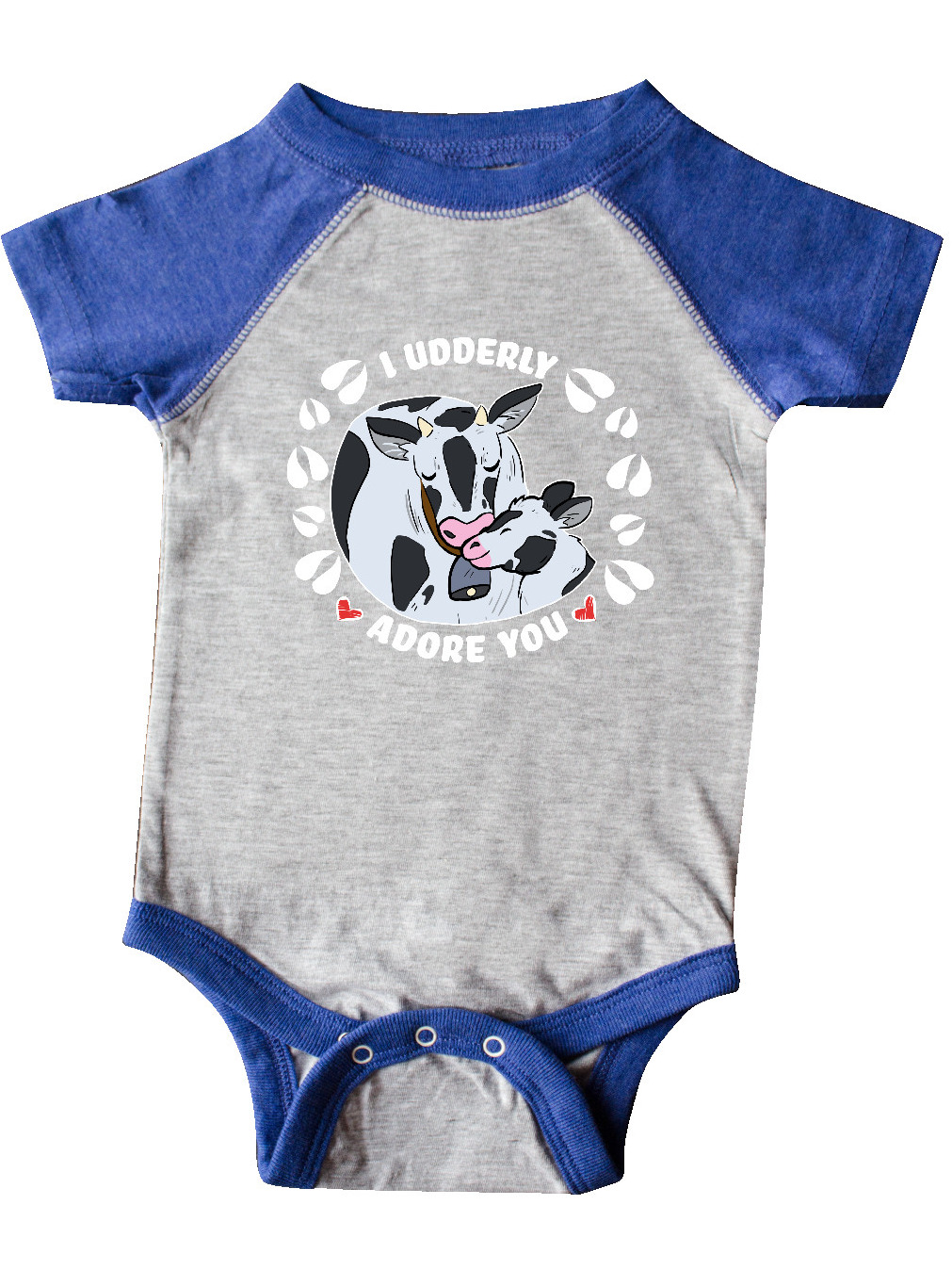 inktastic I Udderly Adore You Cute Holstein Cow and Hearts Infant Creeper