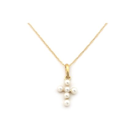 Children's 14k Yellow or White Gold White Freshwater Cultured Pearl Cross Pendant Necklace - 13 15 16 - Child Cross Necklace
