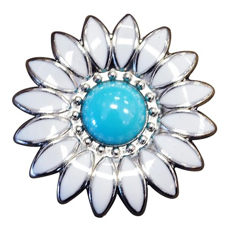 1 PIECE WHITE ENAMEL TURQUOISE STONE FLORAL CONCHO SADDLE BLING COWGIRL ()