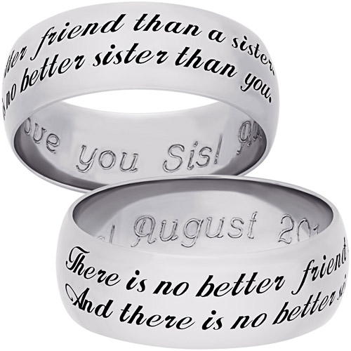 "Personalized Sterling Silver Sweet Sentiments ""Sister"" 7mm Band"