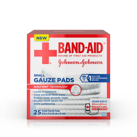 (3 pack) Band-Aid Brand Sterile Gauze Pads, Small, 2 in x 2 in, 25 ct