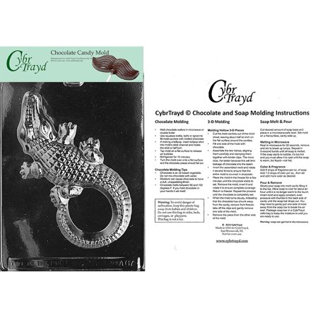 Large Alligator Chocolate Candy Mold with Exclusive Cybrtrayd Copyrighted Molding - Alligator Mold