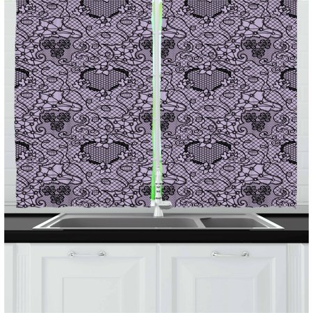 Black Lace Curtains (Gothic Curtains 2 Panels Set, Black Lace Style Needlecraft Pattern with Ornate Flowers Feminine Victorian Motifs, Window Drapes for Living Room Bedroom, 55W X 39L Inches, Lilac Black, by)