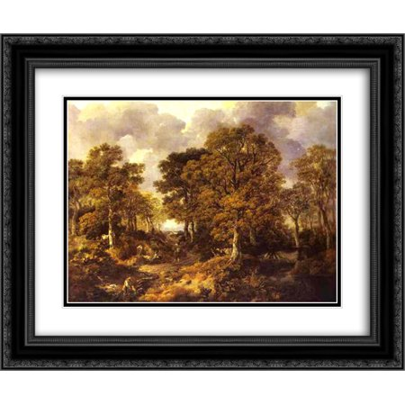 Thomas Gainsborough 2x Matted 24x20 Black Ornate Framed Art Print