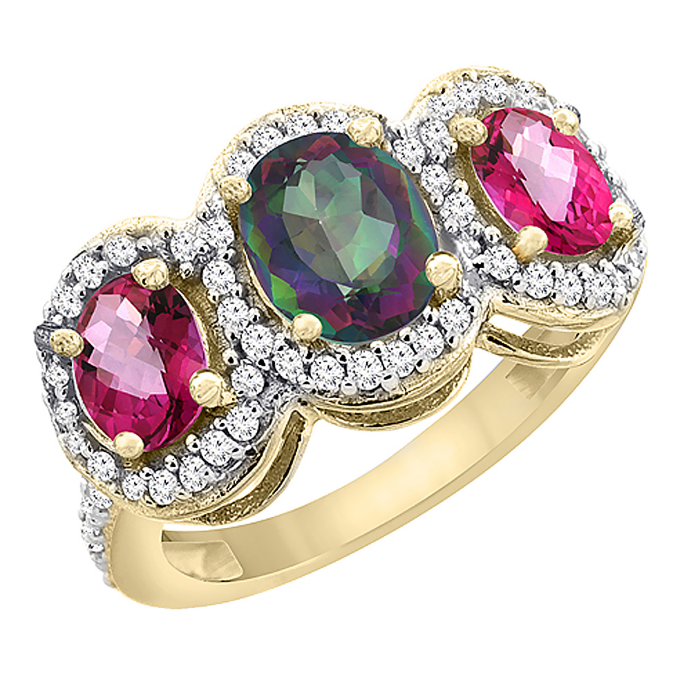 14K Yellow Gold Natural Mystic Topaz & Pink Topaz 3-Stone Ring Oval Diamond Accent, size 5.5 by Gabriella Gold